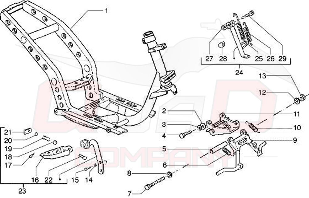 Gilera Runner 125 FX SP DD 2T LC ZAPM070 Rahmen, Ständer Ersatzteile