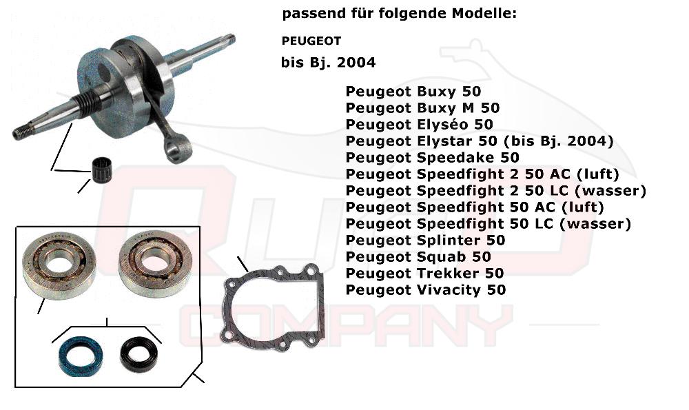 Lager Dichtsatz Buxy Elyseo Peugeot Speedfight 50 1 /& 2 AC /& LC Kurbelwelle