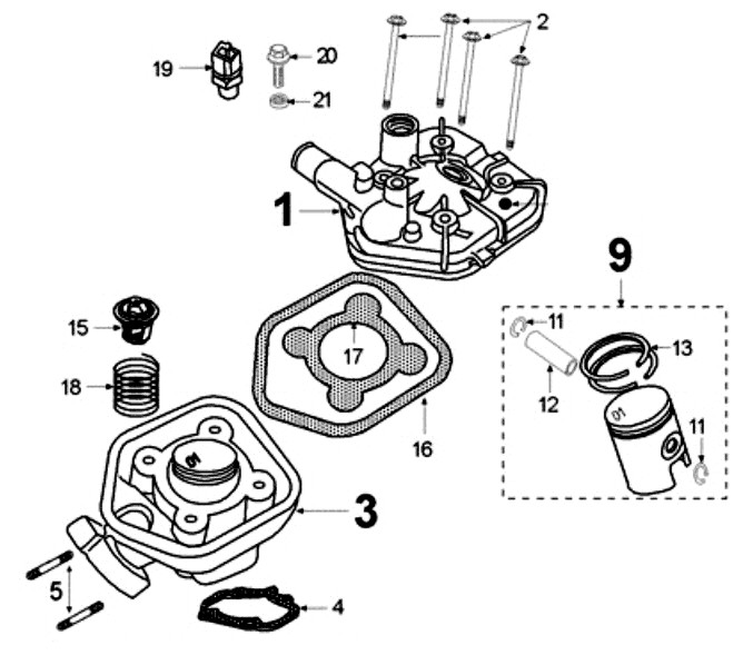 peugeot speedfight 2 50 lc s1b0kb zylinder  kolben  dichtungen ersatzteile