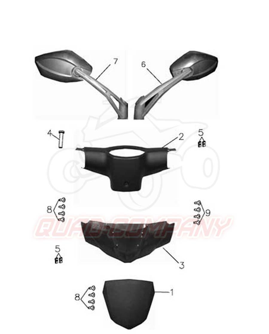 Adly gta 50 spiegel und lenkerverkleidung ersatzteile for Spiegel quad