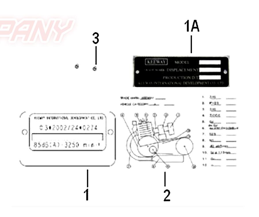 Keeway RY8 50 Plakette Fahrgestellnummer Ersatzteile