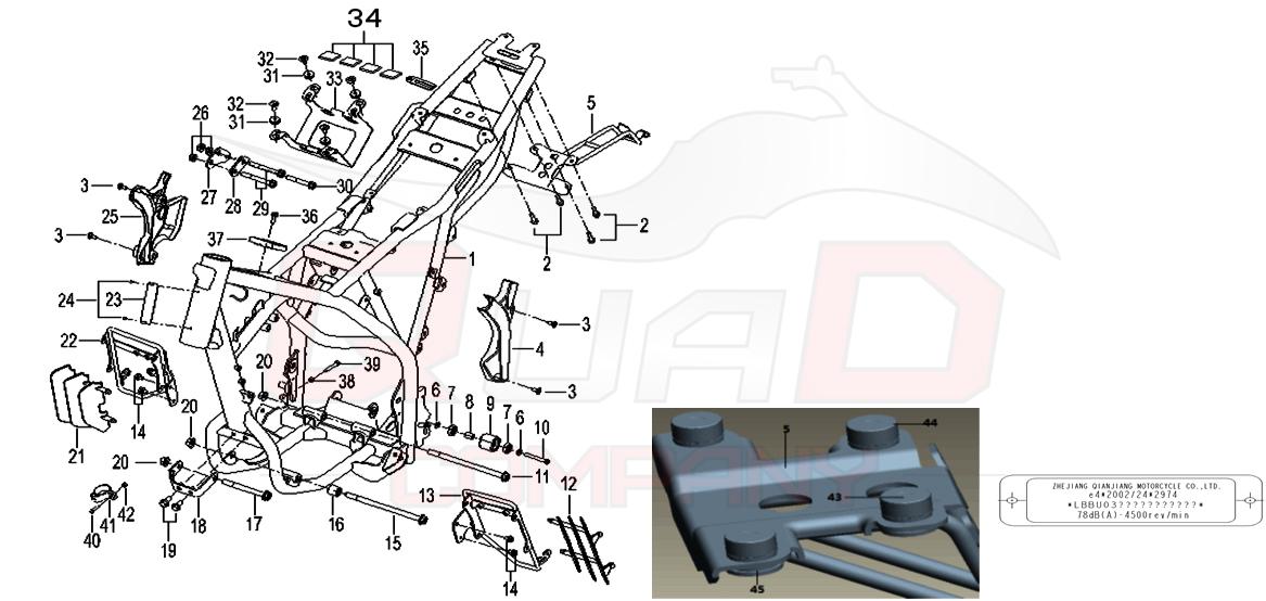 KSR Moto TW 125 Euro4 Rahmen Ersatzteile