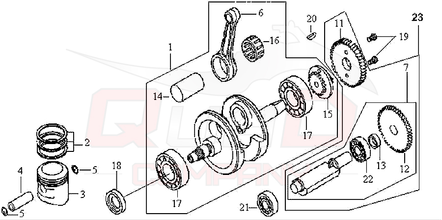 sym husky 125 n125a1 6 kurbelwelle kolben. Black Bedroom Furniture Sets. Home Design Ideas