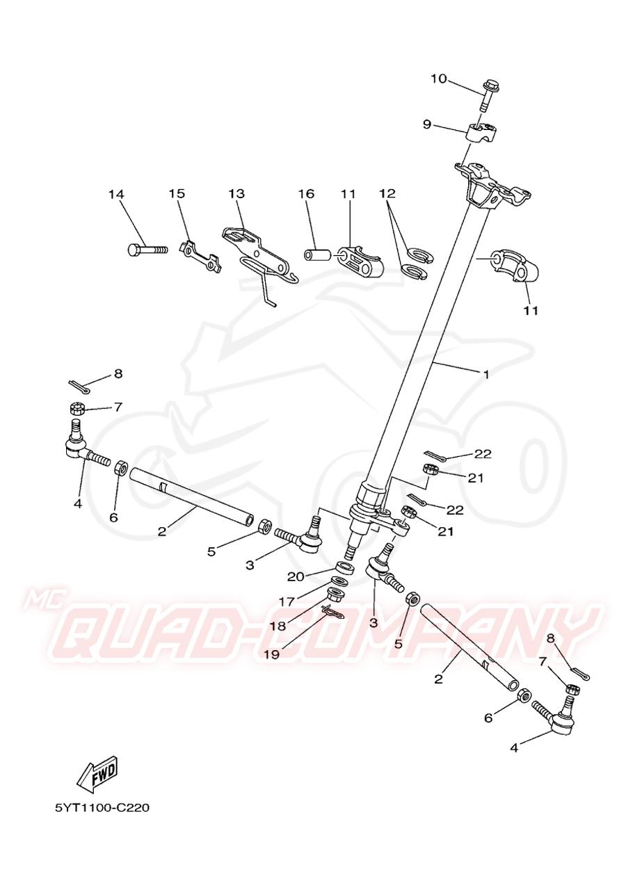 Yamaha yfm 350 raptor 5ytc lenkung ersatzteile