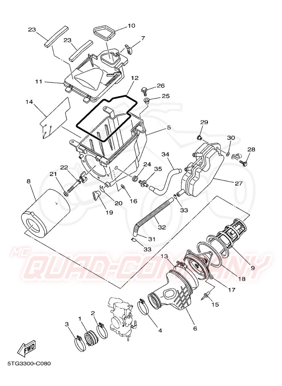 Yamaha YFZ 450 5TG3 Luftfilter Ersatzteile on